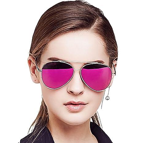 1c72ddb6326 Amazon.com  BLUEKIKI YEUX Aviator Women Sunglasses Polarized Fashion Metal  Frame Design(Barbie pink)…  Clothing