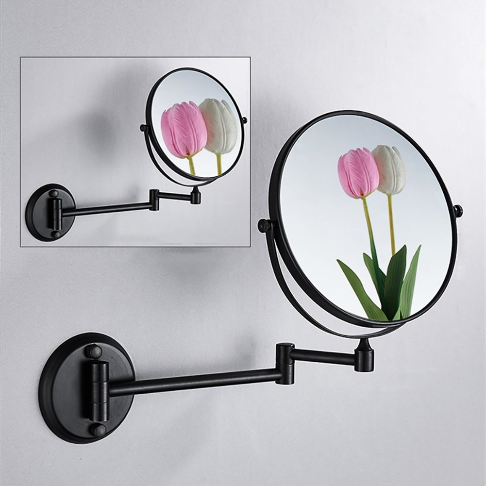 ZfgG 8 Inch Wall Mounted Shaving Mirror,3X Magnification Bathroom Makeup Mirror, Extending Folding Double Side Cosmetic (Color : Black) by MXueei Bathroom mirror (Image #2)