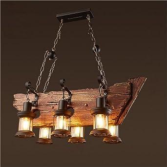Joypeach 6 Heads Vintage Wooden ChandeliersRetro Industrial Style Chandeliers For Dining RoomsChandeliers