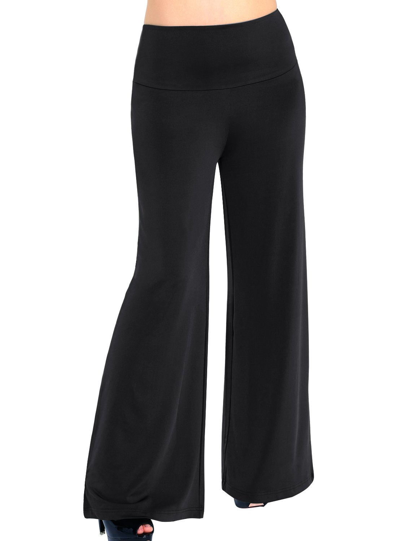 Arrisol Women's Stretchy Wide Leg Palazzo Lounge Pants (XXL, F-Black)