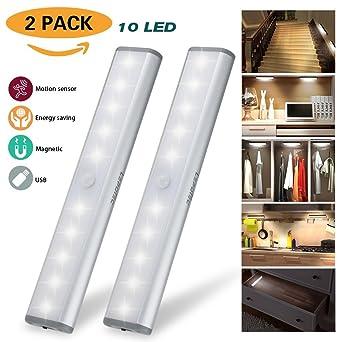 2er Set 10 LED USB Schrankbeleuchtung, Nachtlicht Mit Bewegungsmelder,  Batteriebetrieben Kabinett Nachtlicht, Auto