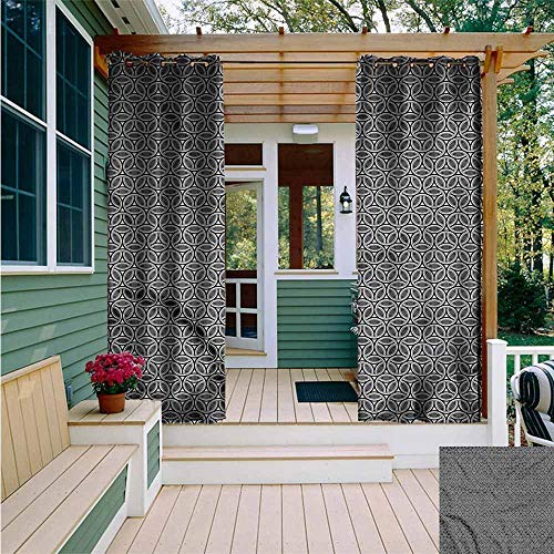 Beihai1Sun Outdoor Grommet Window Curtain,Geometric Circular Honeycomb,Waterproof Patio Door ()
