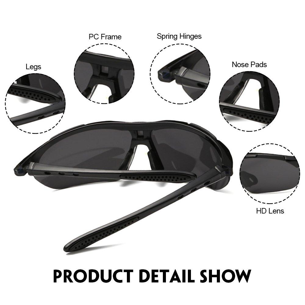 IALUKU Cycling Sunglasses Polarized with 5 Interchangeable Lenses, Sports Sunglasses for Men Women Driving Baseball Fishing Golf (Black, 79)