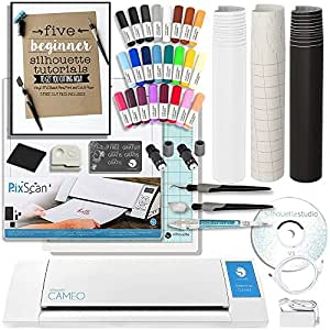 Silhouette Cameo 2 Touch Screen, Sketch Pen Set, Pixscan Mat, Starter Guide, 2 Full Rolls Vinyl, Transfer Paper, Tools, and More