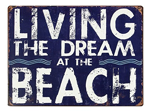 Young's Living The Dream at The Beach Blue and White Punched Tin Wall Sign 13 Inch