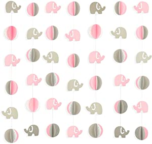 pinkblume 39.4ft 3D Pink Elephant Paper Garland Elephant Baby Shower Decorations Hanging Banne Glittler Birthday Party Supplies Nursery Décor Girls Bedroom Decor (Pink+Gray+Silver)