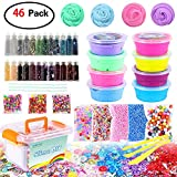 DIY Slime Kit Supplies - Fluffy Slime and Clear Crystal Slime, Include Foam Balls, Fishbowl Beads, 24pcs Glitter Jars, Fruit Flower Candy Slices for Kids and Adults Slime Making (46 Pack Slime Kit)