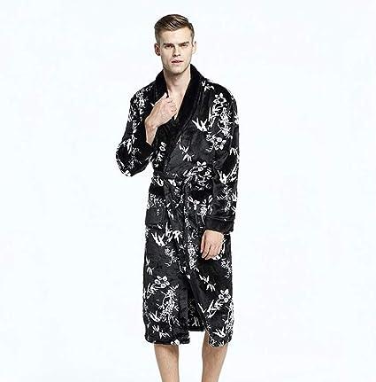 Hombres Bata De Baño Invierno Grueso Franela Largo Bata De Baño Homewear Masculino Ropa De Dormir