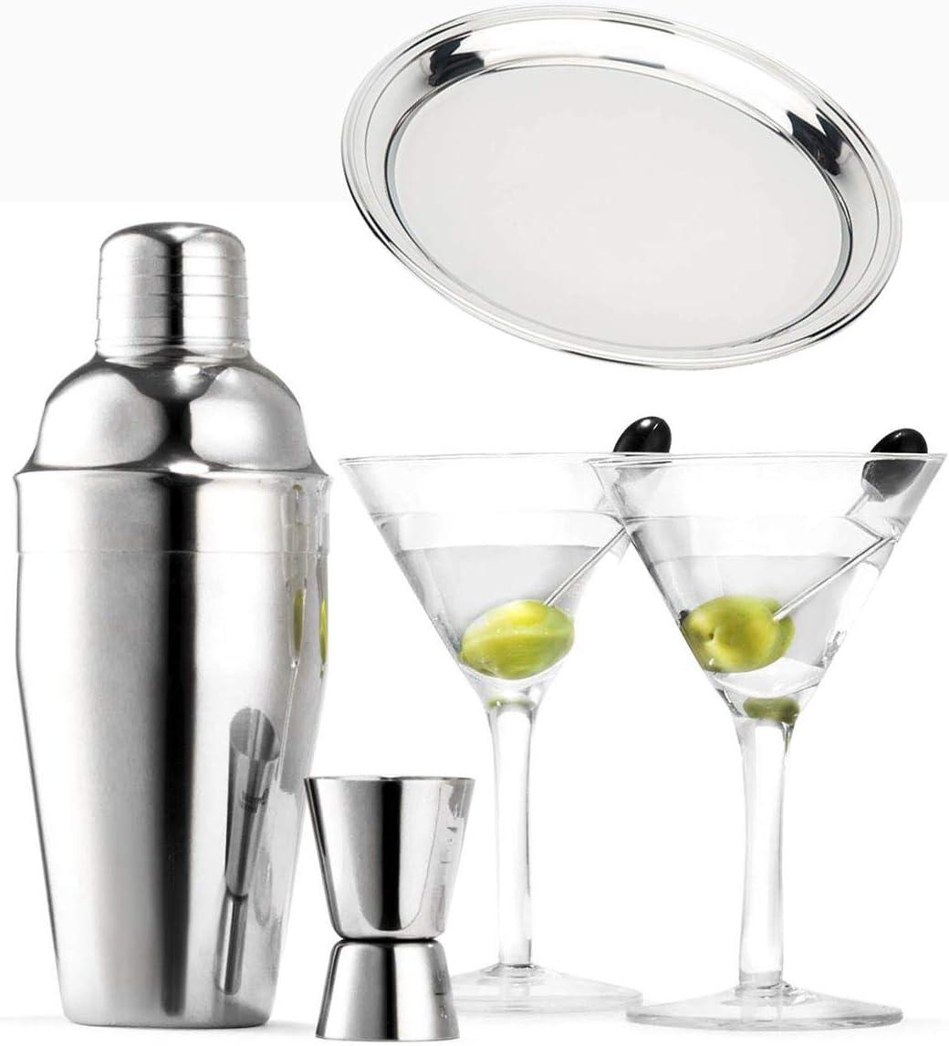 Copas de Martini Set 6 piezas coctelera Licuadora Medidor ...