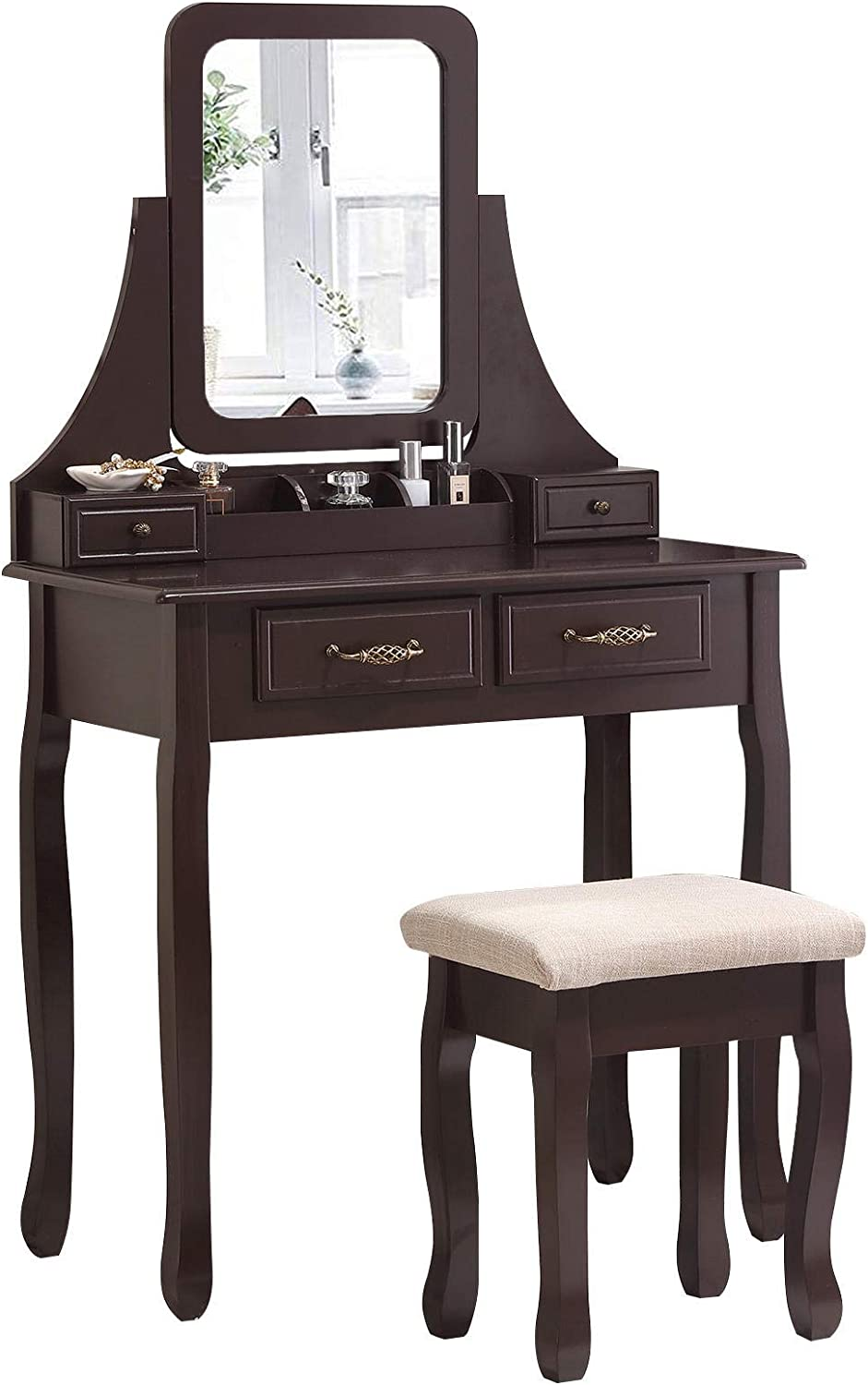 Unihome Vanity Table Brown with Mirror Black Small Dressing Table with with 4 Drawers Makeup Table for Women