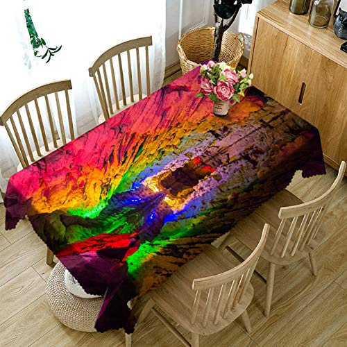 Senisaihon Custom size 3D Tablecloth Colorful Cave Landscape Pattern Dustproof Rectangular Tablecloth New Year Party Table Cover  Color 6 B07R9XV3MF