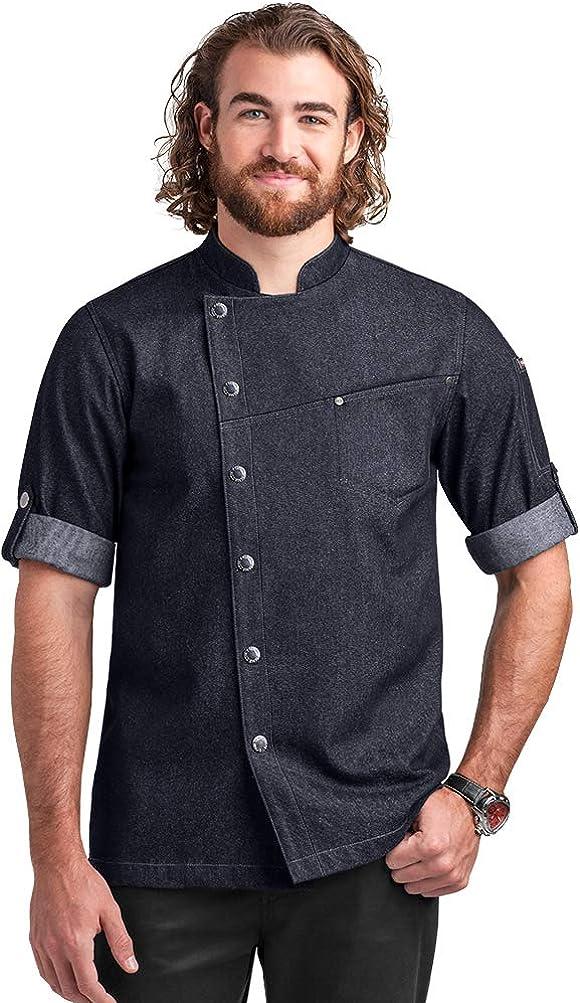 Men's Asymmetrical Premium Denim Chef Coat with Mesh Side Panels (S-3X)