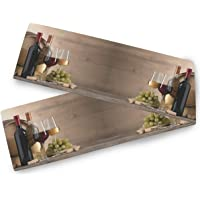 Oarencol Red and White Wine Glasses Grape Wooden Keg Table Runner 13x70 inch Double Sided, Polyester Rectangle Table…