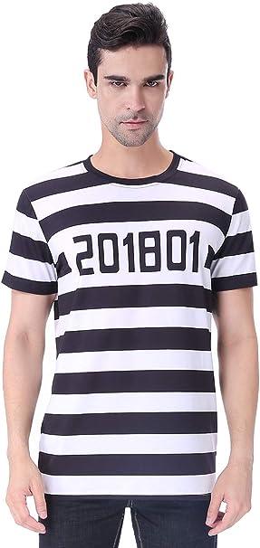 COSAVOROCK Disfraz de Preso para Hombre Camiseta Halloween a Rayas (M, Prisionero): Amazon.es: Ropa y accesorios