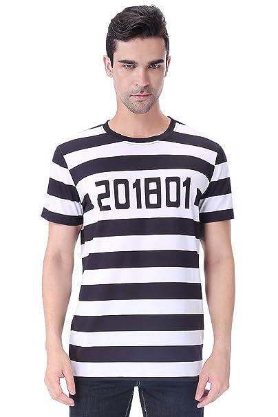 COSAVOROCK Hombres Prisionero de Halloween Traje Disfraz Camiseta