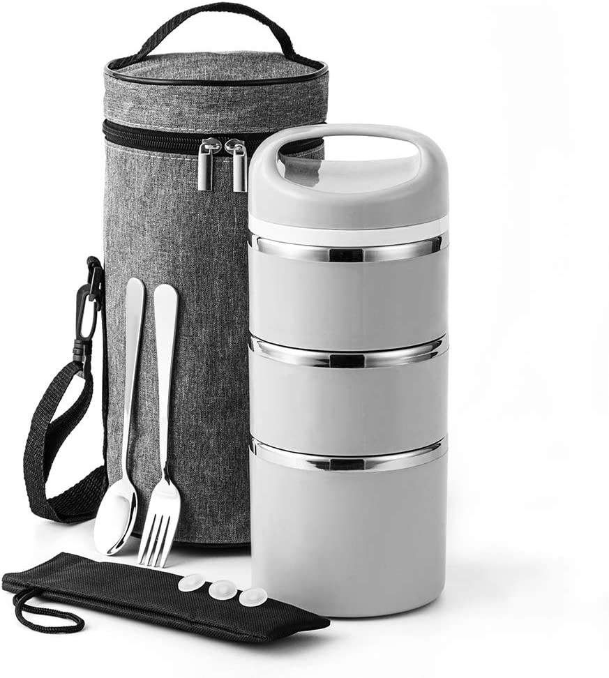 Lille Home Stackable Stainless Steel Thermal Compartment Lunch/Snack Box, 3-Tier Insulated Bento/Food Container with Lunch Bag, Fork & Spoon, Smart Diet, Weight Control, 43 OZ, Grey