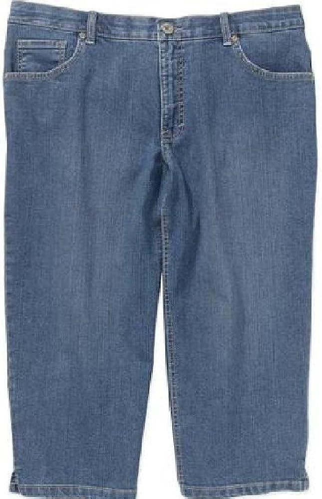 5207c6fefa Faded Glory Women's Plus-Size Denim Capri Pants with a Comfort Waistband ...