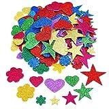 Outus 2.65 Ounce Foam Glitter Stickers Self-Adhesive Foam Stickers, Star, Mini Heart and Flower Shape