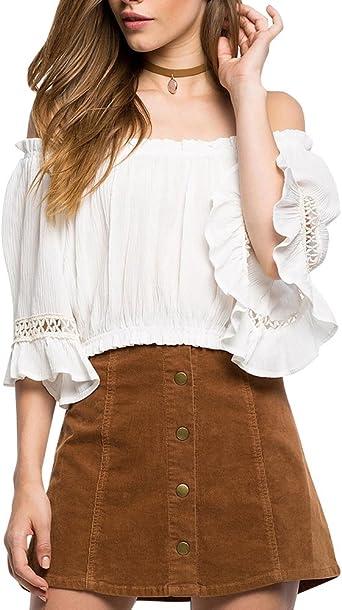 DianShao Mujer Crop Top Blusa Camisa Camiseta Hombros Descubiertos: Amazon.es: Ropa y accesorios
