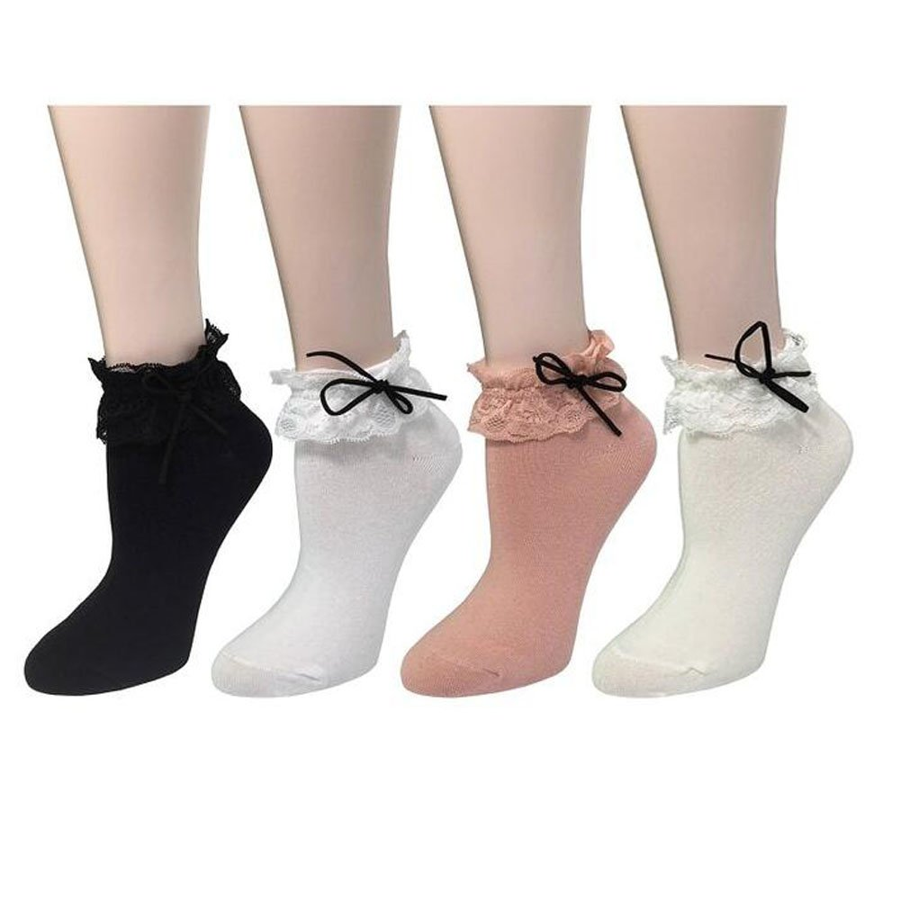 4 Pairs Sweet Princess Girl Cute Ladies Vintage Lace Ruffle Frilly Ankle Socks Ziye Shop
