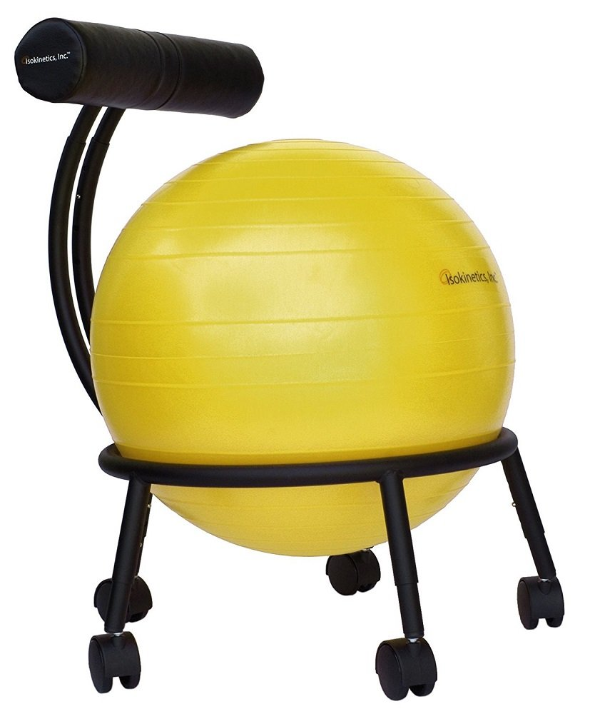 Isokinetics Inc. Brand Adjustable Fitness Ball Chair - Solid Black Metal Frame Finish - Exclusive: 60mm (2.5'') Wheels - Adjustable Base and Back Height - with Yellow 55cm Ball and a Pump by Isokinetics