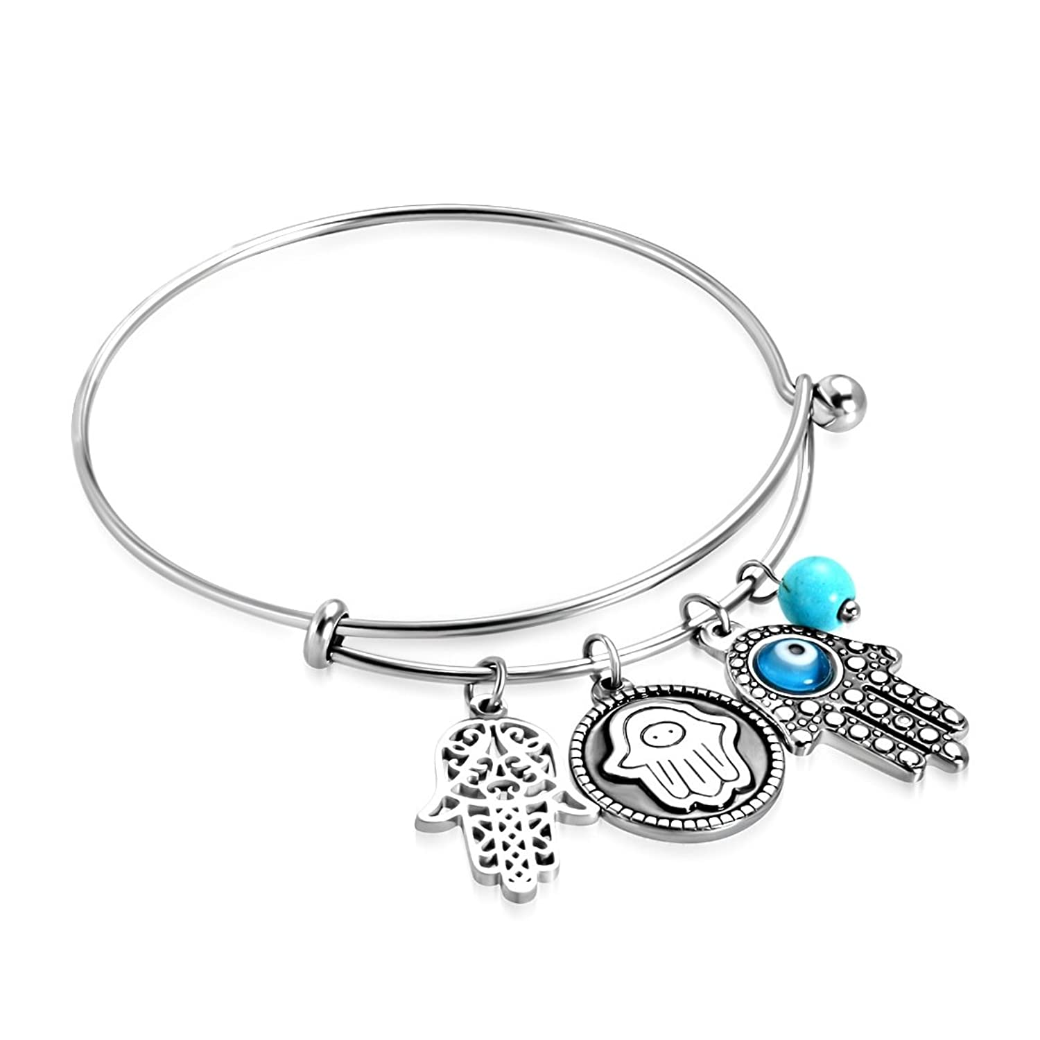 Stainless Steel 2 Color Evil Eye Hand of Fatima/ Hamsa Charm Adjustable Bangle with Turquoise Bead Length: 8""