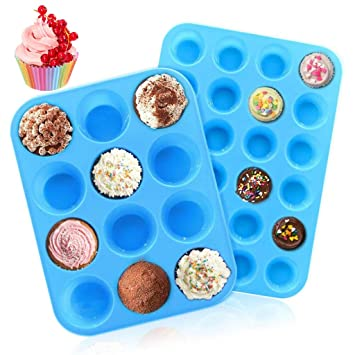 Neu Backen Kuchen Silikon 2 Set 12 Muffin Form Backen Matte Rot Blau Oder Lila Backbleche & -formen