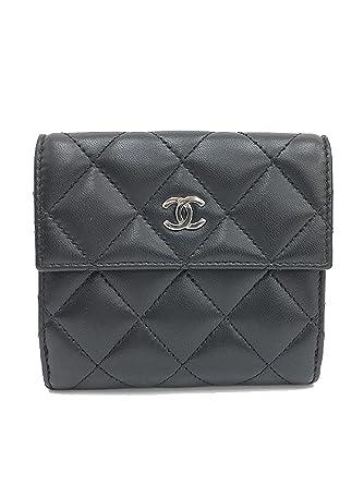 e0dc35d02d62 CHANEL(シャネル) マトラッセ Wホック財布 二つ折り 黒 ブラック×シルバー金具 ラムスキン