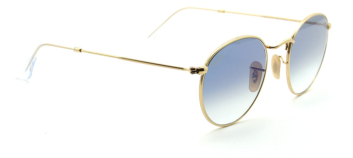 5868d1239a5 Amazon.com  Ray-Ban RB3447N 001 3F ROUND FLAT LENSES Gold Sunglasses ...