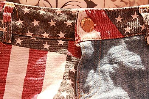 donne vita jeans Daisy americana Mini in bassa denim Duke stampa bandiera Strappato shorts di pantaloncini in le Ruanyi per 8UvxqZIv