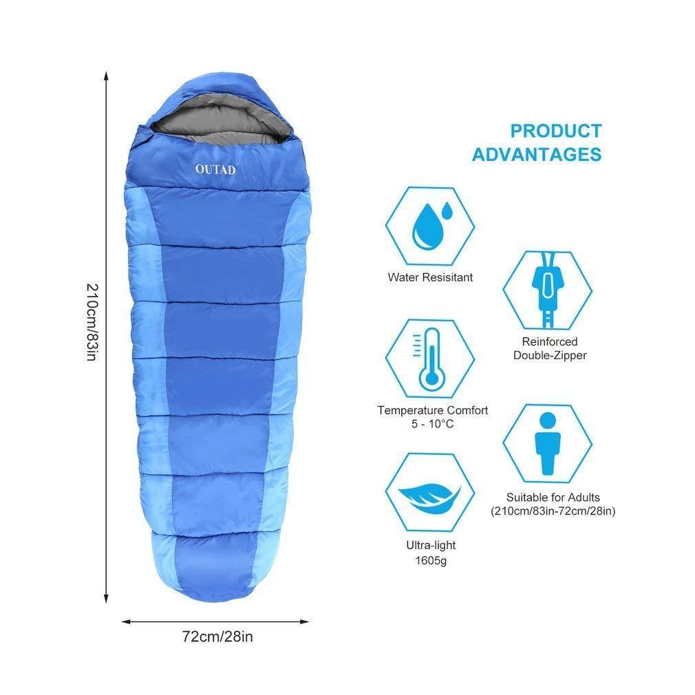 Manakayla Sacos de Dormir rectangulares Outdoor Winter Warm Saco de Dormir Individual cómodo Saco de Viaje cómodo para Camping Senderismo Mochila de Hombro ...