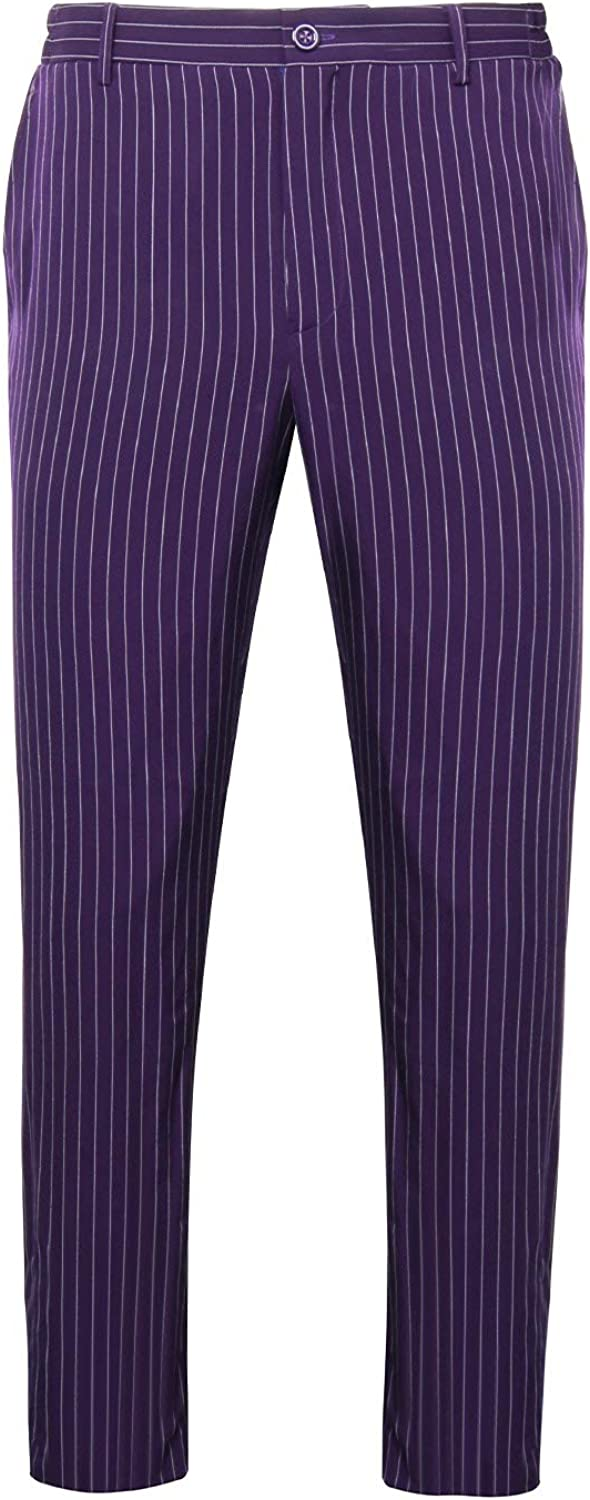 NUWIND Men Joker The Dark Knight Joker Pantalon /À Rayures Droit pour Halloween Cosplay Party Costume Deluxe Costume Fit Suit Violet