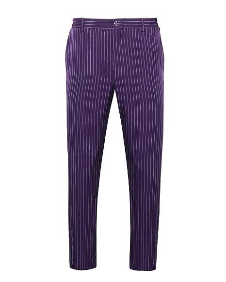 NUWIND - Pantalones Rayas de Joker para Hombre Disfraz Batman The Dark Knight Traje Halloween Cosplay Party (XXL)