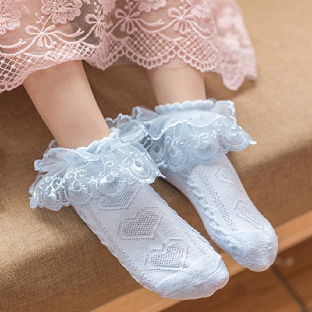 Nikunty Childrens socks Cotton Summer thin section Lace Girl socks 3-5 years old