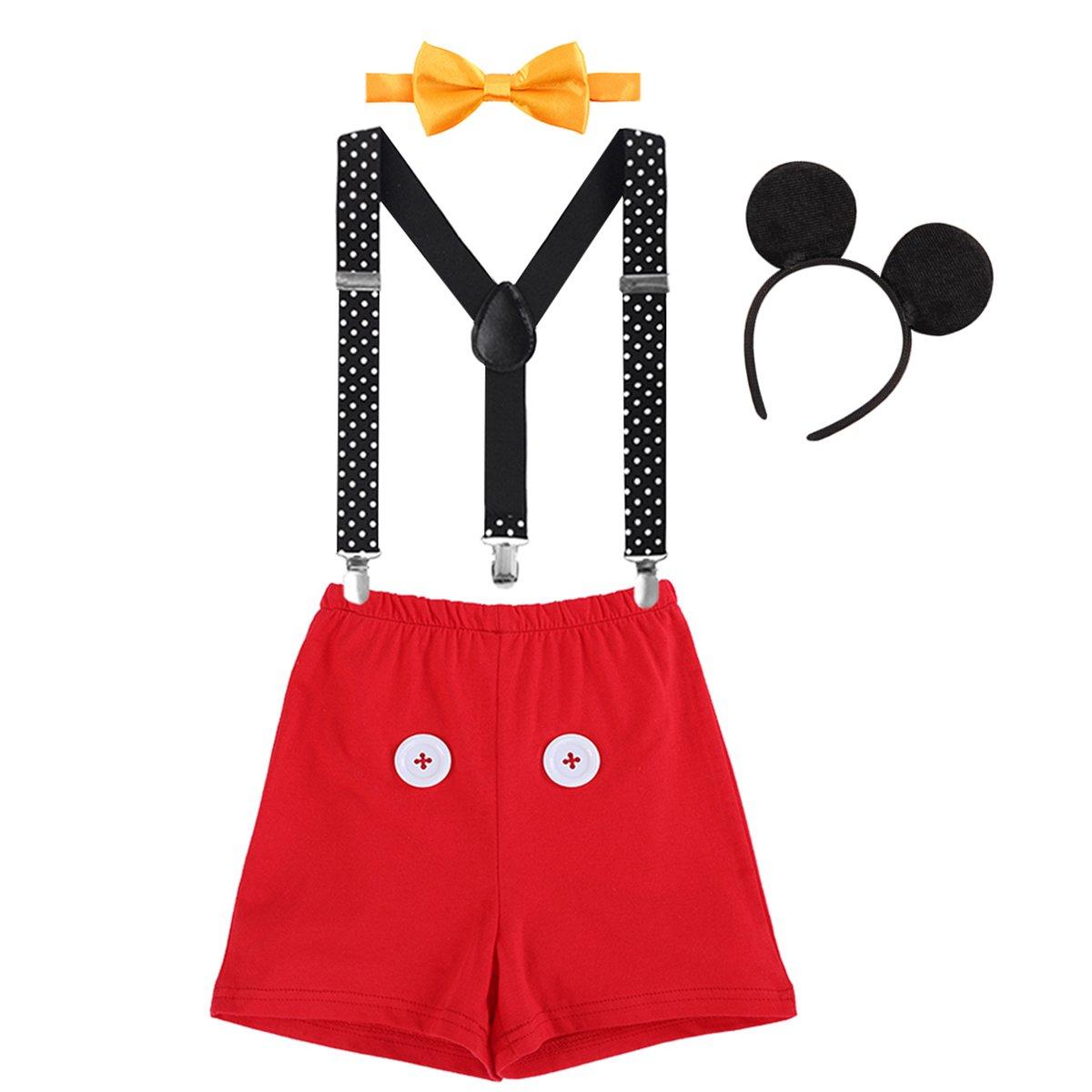 IWEMEK Baby Mickey Mouse 1. / 2./ 3. Geburtstag Halloween Kostüm Outfit Unterhose + Fliege + Y-Form Hosenträger + Maus Ohren 4pcs Bekleidungssets Fotoshooting Kostüm für Unisex Jungen Mädchen huaxin