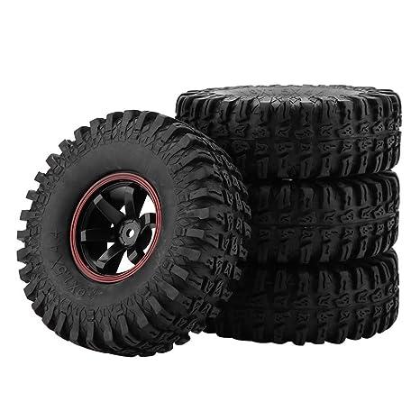 Dilwe RC Neumáticos, 4 Pcs Neumáticos de Rueda 6 Hoyos Neumáticos de Goma con Ejes