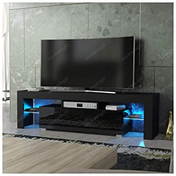 DRP Trading Modern TV Unit 160cm Cabinet Black Matt and Black High Gloss  FREE LED RGB d6ec7ca890