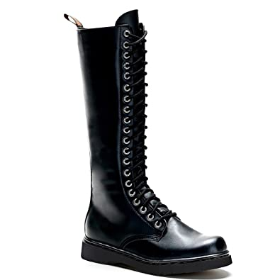 78c76cc6b27 Summitfashions Mens Lace Up Combat Boots Black Vegan Leather Boots Knee  High Zipper Men Sizing