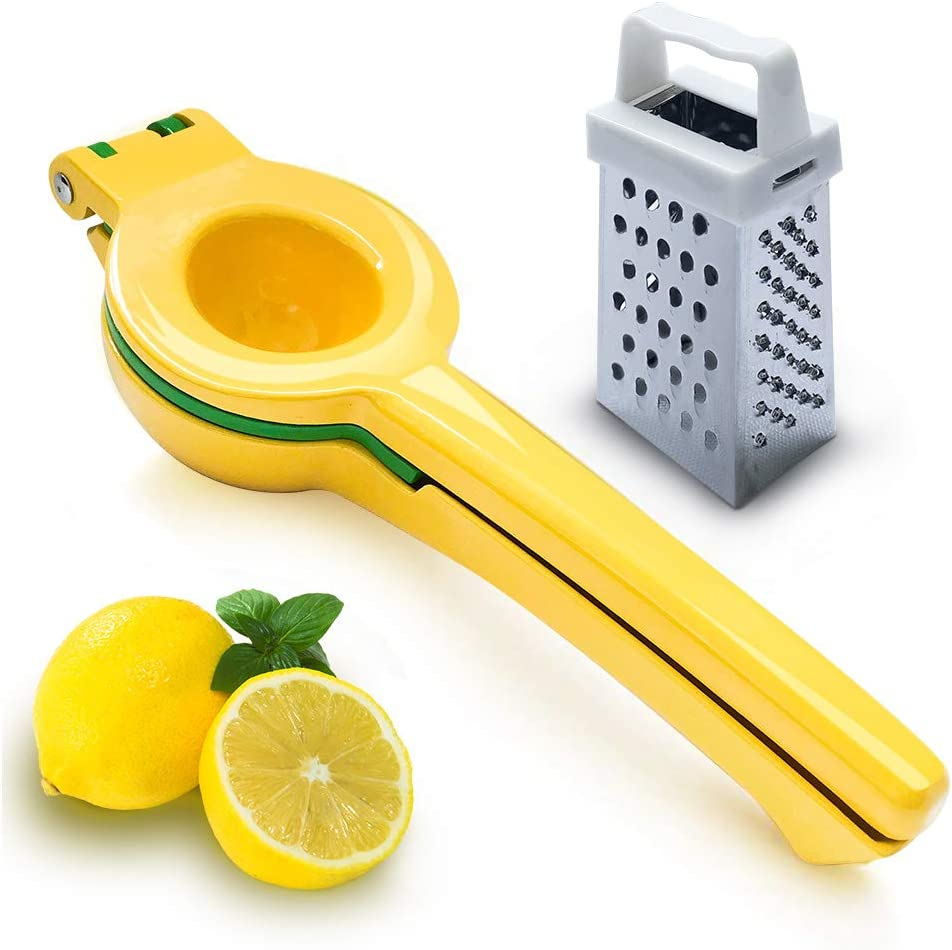 Lemon Squeezer And Garlic Press Enameled Aluminum With Premium Quality(+Cheese Grater), Economic Fruit Juicer Lime Press Metal Best Seller, Professional Manual Hand Strainer Gadgets Kitchen Bar Tool