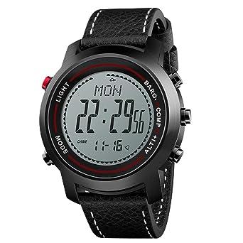 LBJ Relojes de Pulsera Digitales Brújula Altímetro Barómetro Correa de Cuero Moda Deportes al Aire Libre Relojes: Amazon.es: Relojes