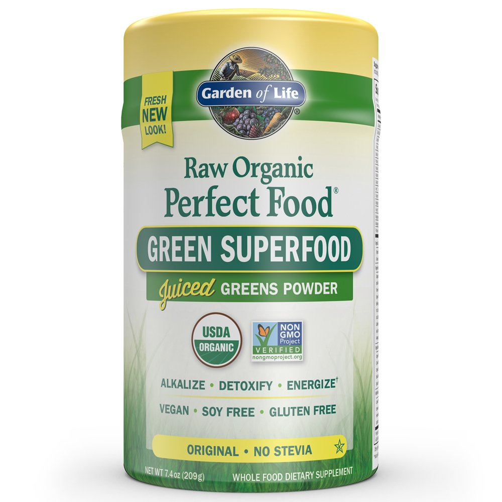 Garden Of Life Vegan Green Superfood Powder   Raw Organic Perfect Whole Food Dietary Supplement, Original, 7.4oz (209g) Powder by Garden Of Life