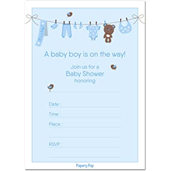 Amazon 30 baby shower invitations boy with envelopes 30 pack 30 baby shower invitations boy with envelopes 30 pack baby boy shower invite filmwisefo
