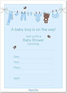Amazon 30 baby shower invitations girl with envelopes 30 pack 30 baby shower invitations boy with envelopes 30 pack baby boy shower invite filmwisefo