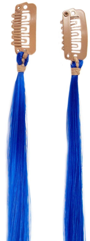 Amor Extensiones de cabello - LHE/S1/QFCS/16/E AZUL - Paquete Doble Rayas Clipper - Electric Blue Color - 41 cm Love Hair Extensions LHE/S1/QFCS/16/EBLUE