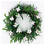 Idyllic 18'' Wreath with Cotton and Olive Leaves Wreath Decorative Faux Artificial Harvest Front Door Decor Wreath
