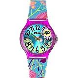 Teenie-Weenie Chic-Watches - Flower Power tourquoise - montres pour femmes et enfants avec bracelet en plastique - UC018