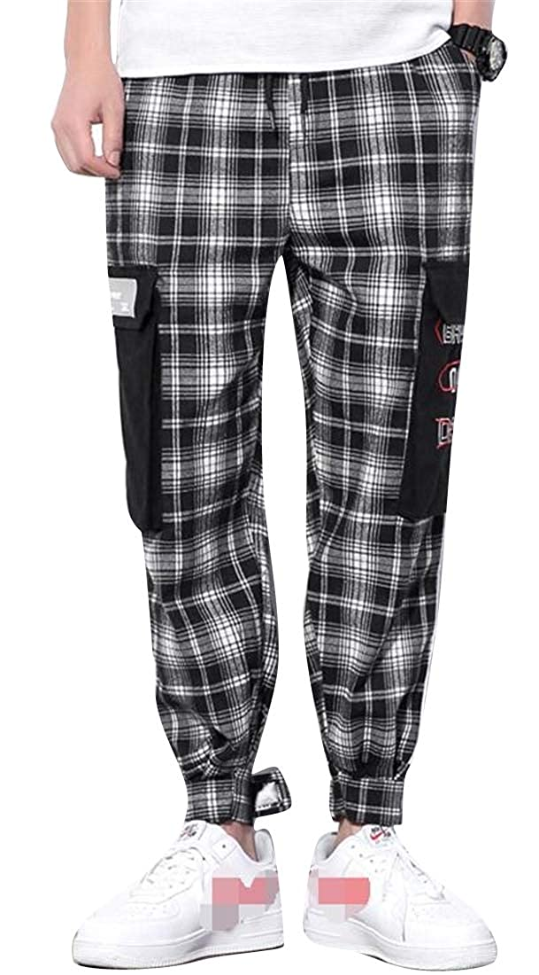 Suncolor8 Mens Relaxed Fit Ankle All Embroidery Plaid Casual Pants Trousers