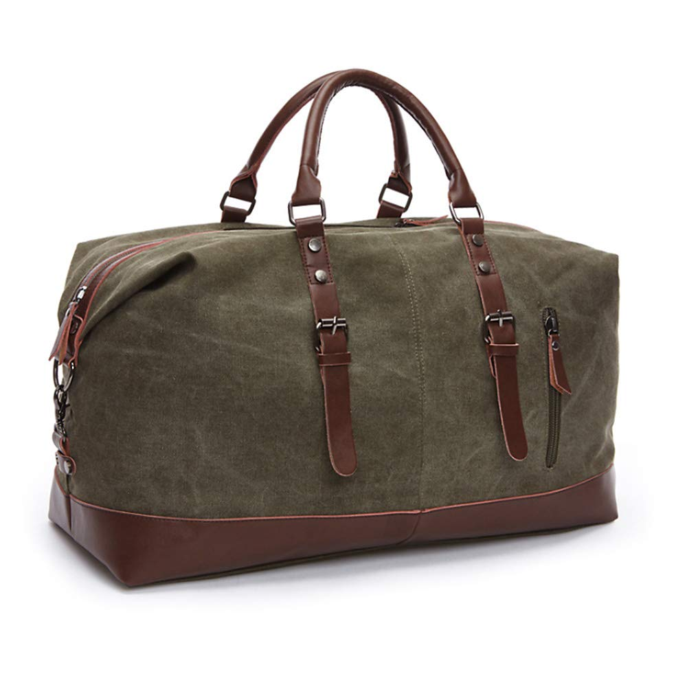 Mens Weekender Duffel Bag Canvas Travel Carry-on Luggage Tote Overnight Bag Black