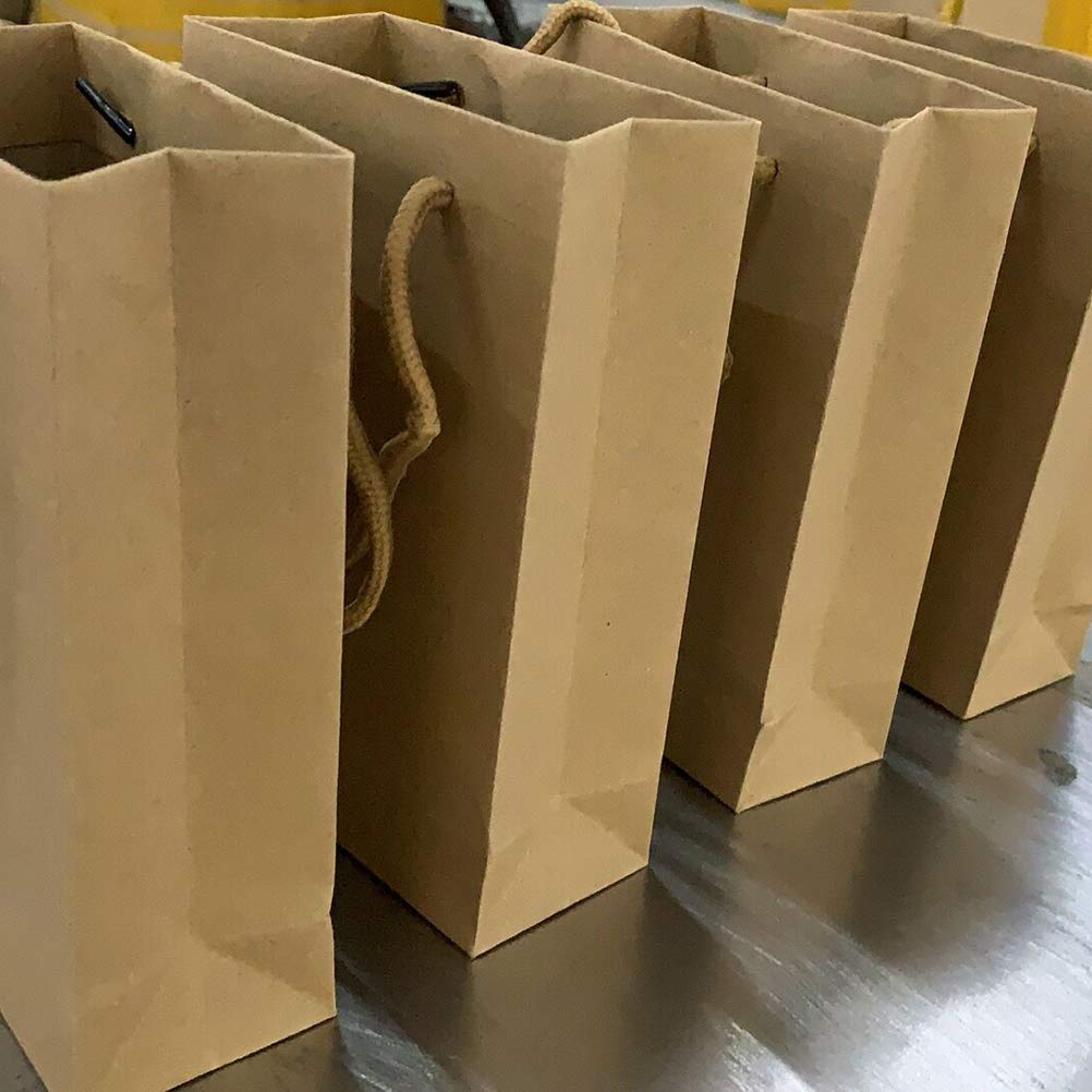 para cumplea/ños marr/ón de peque/ño tama/ño Bolsa de regalo de papel kraft con asas con cord/ón 12 unidades Navidad al por mayor