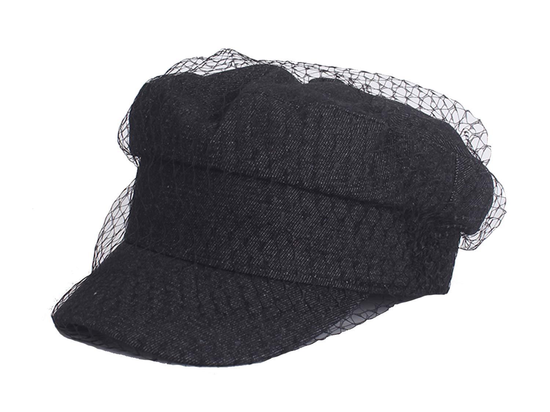 D Jill Women's Denim Classic Vintage Veil Mesh Beret Hat Casquette Visors Peaked Cap Black